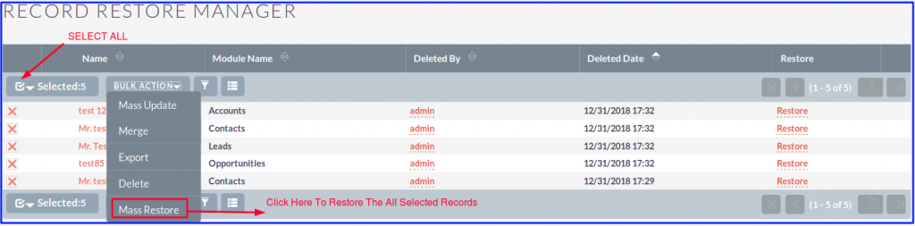Record Restore Manager Select All
