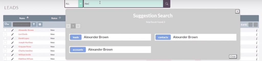 SuiteCRM Live Search Results