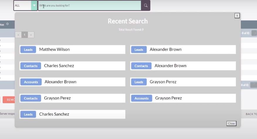 SuiteCRM Recent Search Results